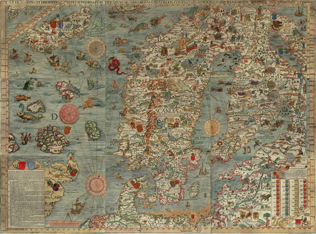 Carta marina -kartta Skandinavista. Väritetty kartta, jossa on Pohjois-Atlantin kohdalle piirretty merihirviöitä.