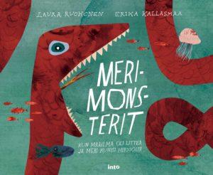 Merimonsterit-runokirjan kansikuva, jossa punainen jättiläismerikäärme aikoo haukata kirjan nimen suuhunsa.